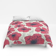 Raspberry Flowers Comforters