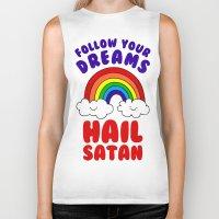 satan Biker Tanks featuring Hail Satan by Vile Art