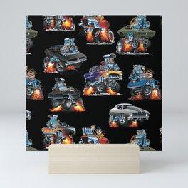 Car Crazy Classic Hot Rod Muscle Cars Cartoons Seamless Pattern Mini Art Print