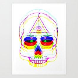 Skull Third Eye Glitch Art Print