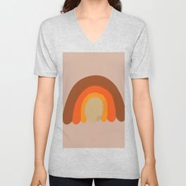 Vintage Retro 70s Colourful Rainbow,  Boho Rainbow, Abstract Rainbow Print, Terracotta Rainbow Art Unisex V-Neck