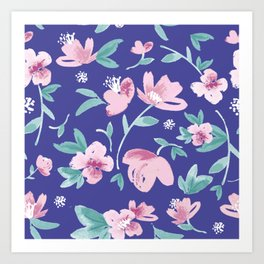 Blue pink and green cute flowers pattern Art Print