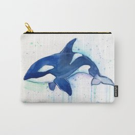 Killer Whale Orca Watercolor Painting Animal Art Carry-All Pouch
