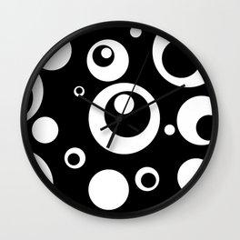 Circles Dots Bubbles :: Black Pepper Wall Clock