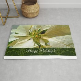 Pale Yellow Poinsettia 1 Happy Holidays S6F1 Rug