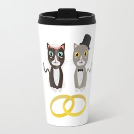 Wedding Cats with Rings Travel Mug