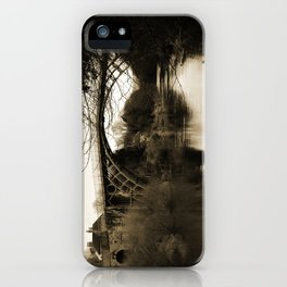 Worlds First Ironbridge over River Severn in England in sepia iPhone Case