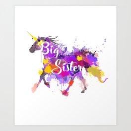 Big Sister Unicorn T-Shirt - Unicorn Graphic Tee Art Print