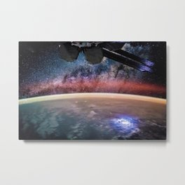Space Station Night View of Planet Earth surface with Milky Way in background Metal Print