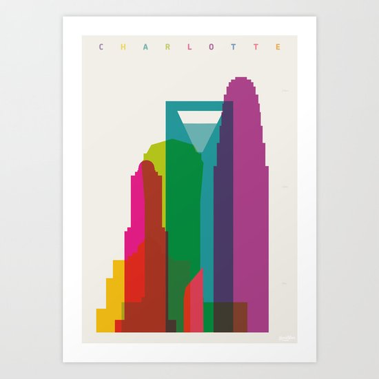 Shapes of Charlotte accurate to scale Art Print