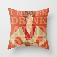 pushing daisies Throw Pillows featuring Pushing Daisies - Lily by MacGuffin Designs