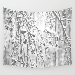 Cloudy Day In The Forest B&W Snowy Rowan Branches With Berries #decor #society6 #homedecor Wall Tapestry