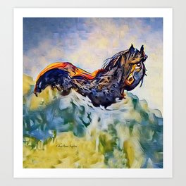 Wild Horse in Sea of Grass watercolor by CheyAnne Sexton Art Print
