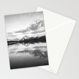 Oxbow Bend Black & White Grand Teton National Park Wyoming Mountain Reflection Landscape Stationery Cards