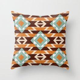 Aztec Pattern Terracotta Throw Pillow