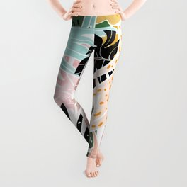 Veronica, Tropical Eclectic Bold Monstera Palm Illustration Nature Modern Colorful Jungle Leggings