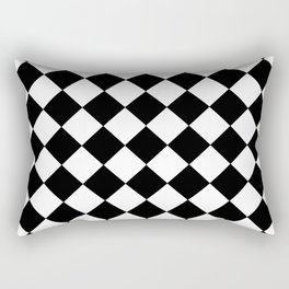 SMALL BLACK AND WHITE HARLEQUIN DIAMOND PATTERN Rectangular Pillow