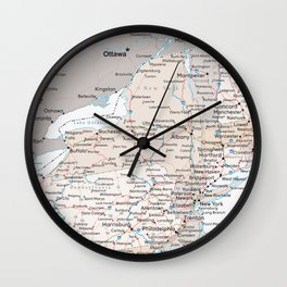 Map of the state of New York Wall Clock