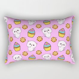 Cute happy funny Kawaii baby kittens, yummy colorful cupcakes and chocolate chip cookies cartoon light pastel pink pattern design. Nursery decor ideas. Rectangular Pillow