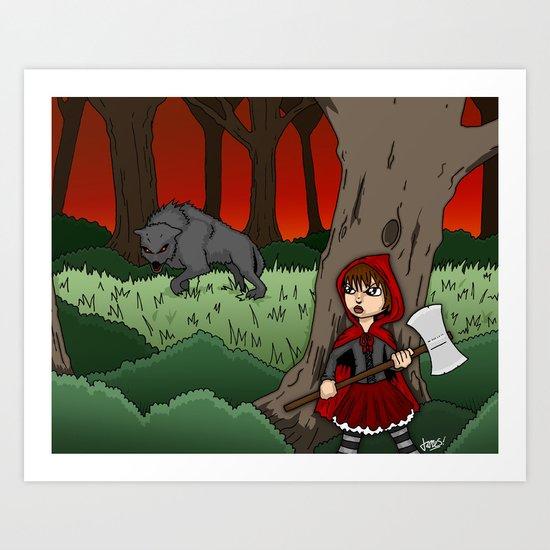 Little Red Riding Hood Versus Big Bad Wolf Art Print