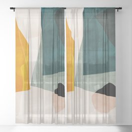 mid century shapes abstract painting 3 Sheer Curtain