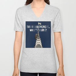 This Is MY Everest, What's Yours? (Raccoon Climbs Skyscraper) Unisex V-Neck