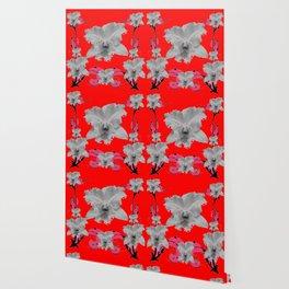MODERN ART RED ART NOUVEAU WHITE ORCHIDS ART Wallpaper