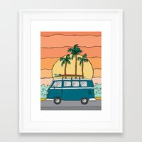 vw bus Framed Art Prints featuring VW Bus by Sydney Peirce