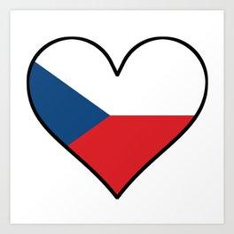 Czech Republic Flag Heart Art Print