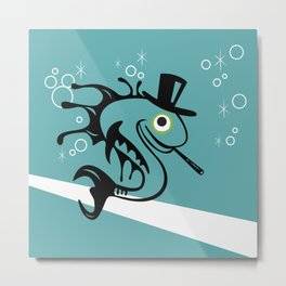 Swank 50s Retro Fish With Top Hat and Cigarette Metal Print