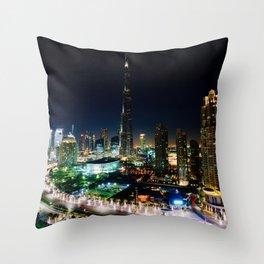 Dubai By Night Throw Pillow