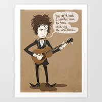 dylan Art Prints featuring Dylan by AnaMF