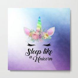 Sleep Like A Unicorn Metal Print