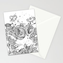 Underwater Tropical Fish Line Art Stationery Cards