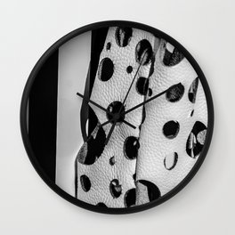 Holes And Stripes – Wallpaper And Leather Wall Clock