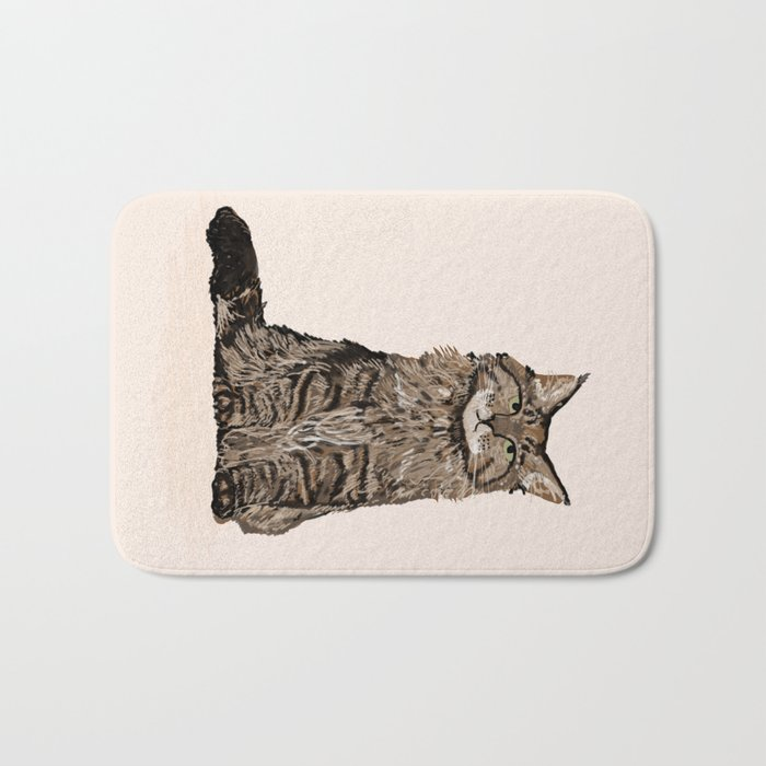 Maine Coon sitting cat portrait cute cat lady gift idea for cat owner cat lover animal pet friendly  Bath Mat