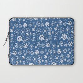 Snowflake Snowstorm With Sky Blue Background Laptop Sleeve