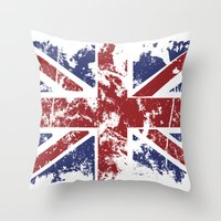 uk Throw Pillows featuring Grunge UK by Sitchko Igor