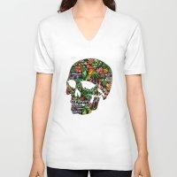 tiki V-neck T-shirts featuring Tiki Skull by spacecolour
