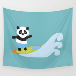 Surf Panda Wall Tapestry