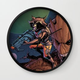 Rocket and groot Wall Clock