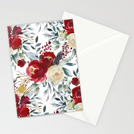 Boho Scarlett Blossom With Feathers on White Stationery Cards