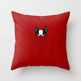 Pocket Boston Terrier Throw Pillow