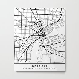 DETROIT MICHIGAN BLACK CITY STREET MAP ART Metal Print