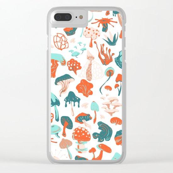 Mushroom Pattern (white) Clear iPhone Case