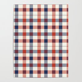 Plaid Red White And Blue Lumberjack Flannel Poster