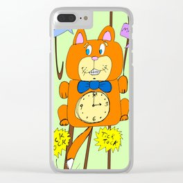Tick Tock Meow Meow - 3 o'clock Cat Clock Clear iPhone Case
