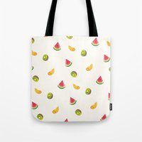 fruits Tote Bags featuring Fruits by Carolin Vogt
