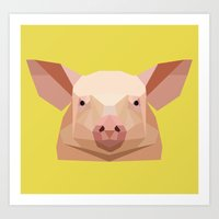 pig Art Prints featuring Pig by Alysha Dawn