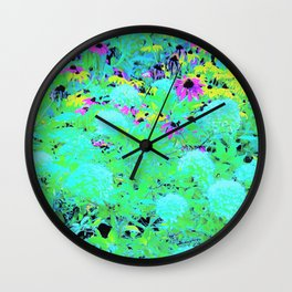 Impressionistic Aqua Garden Landscape Hydrangeas Wall Clock